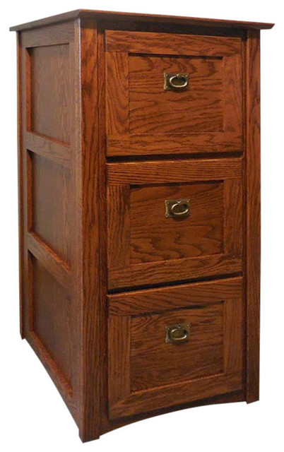 The Oak Furniture Shop - Mission Solid Oak 3-Drawer Filing Cabinet - View in Your Room! | Houzz
