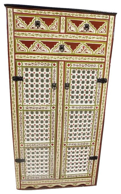 Beau Handpainted Moroccan Cabinet