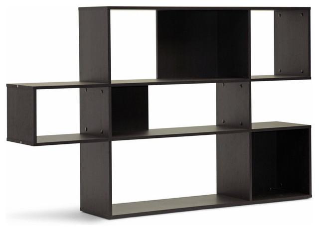 Baxton Studio Lanahan Dark Brown Modern Display Shelf, 3 Level.