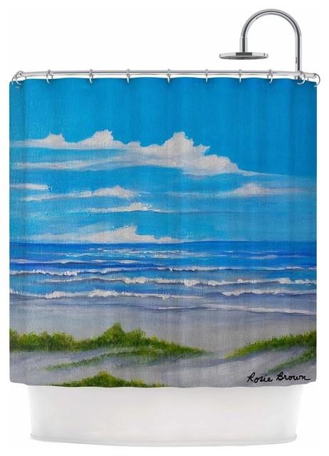 Kess InHouse Cyndi Steen A Cooler View Blue Green 69 x 70 Shower Curtain