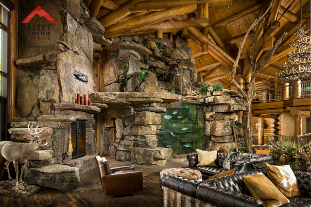Lodge style living rocky mountain homes for Rocky mountain home builders