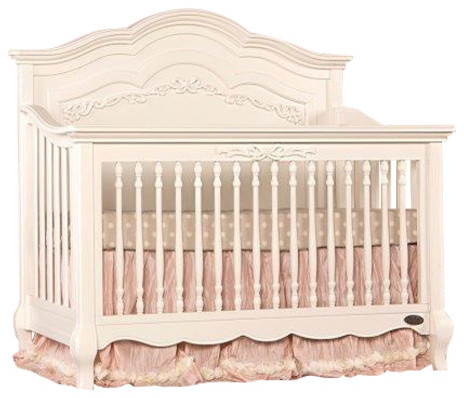 Evolur Aurora 5 In 1 Convertible Crib, Ivory Lace Traditional Cribs