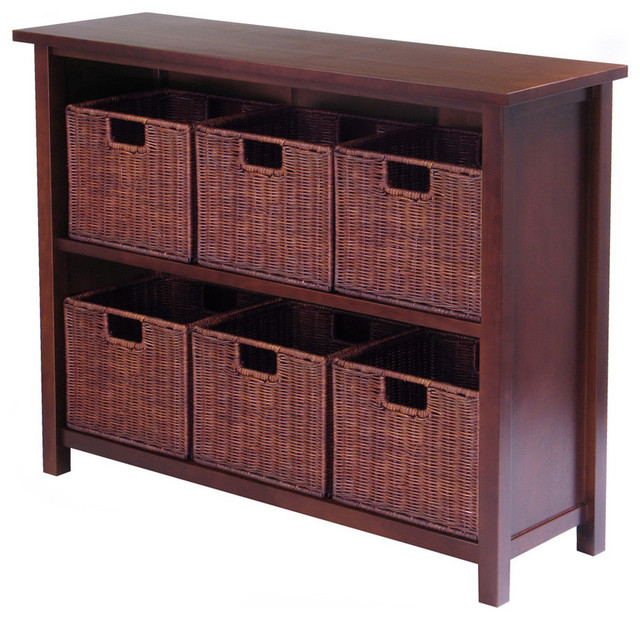 Winsome Wood 94510 Milan Shelf Piece Decorative Storage Cabinet Antique Walnut Display And