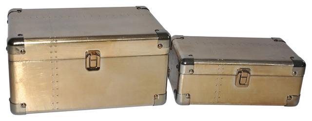 Cheungs Set Of 2 Osum Storage Box, Brushed Gold.