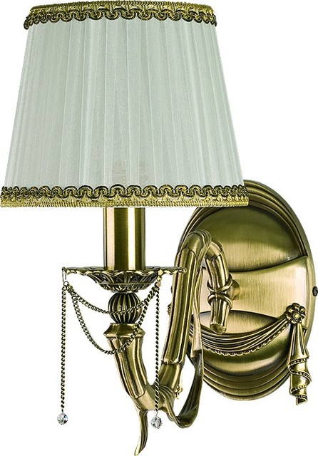 Baccara Brass Swarovski Crystals Wall Sconce, Fabric Shade