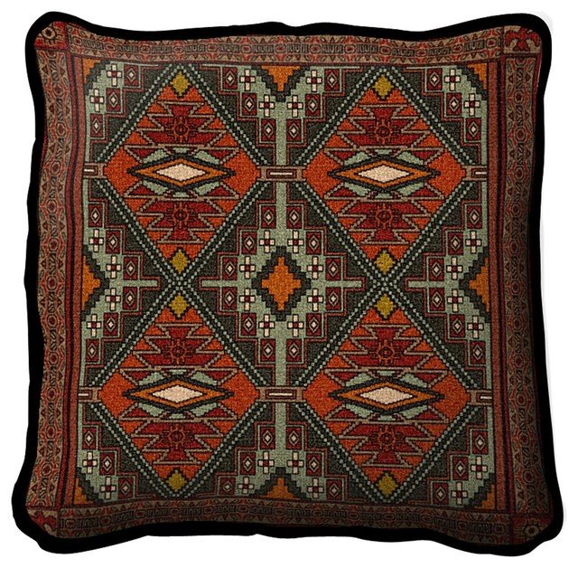 Southwestern Decorative Throw Pillows : Trailwalker Pillow - Southwestern - Decorative Pillows - by Fine Art Tapestries