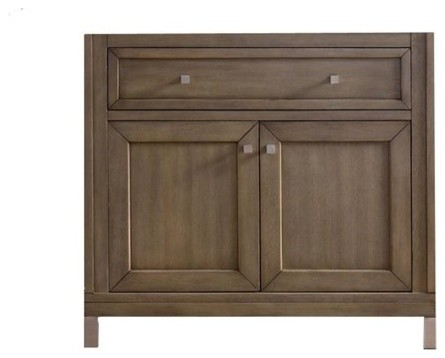 "36"" Chicago Single Sink Cabinet Only Without Top, White Washed Walnut."