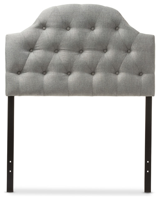 Morris Fabric Upholstered Button-Tufted Scalloped Twin Headboard, Gray.