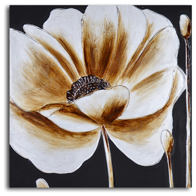 Coffee and white poppy Hand Painted Canvas Art - Contemporary ...