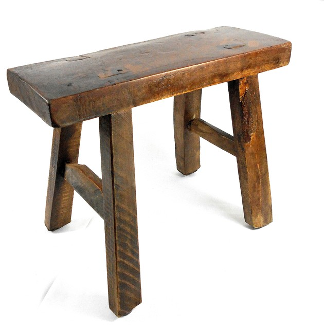 Teak bathroom stool