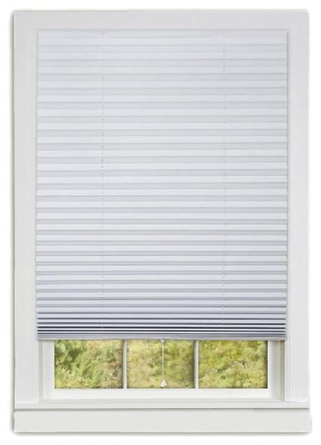 "1-2-3 Vinyl Room Darkening Window Pleated Shade, Set Of 6, White, 36""x75""."