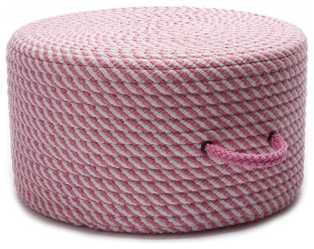 Braided Bright Twist Pouf Round Pink Ottoman Contemporary Floor Pillows And