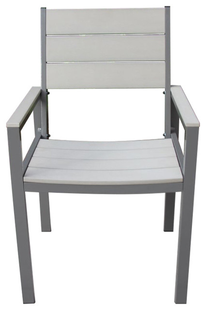 Single Winston Chair With Gray Aluminum Frame And Gray Faux Wood Accents.