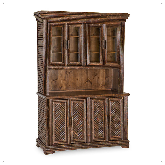 Rustic Hutch With Glass Doors #2043 - Rustic - China Cabinets And Hutches - by La Lune Collection