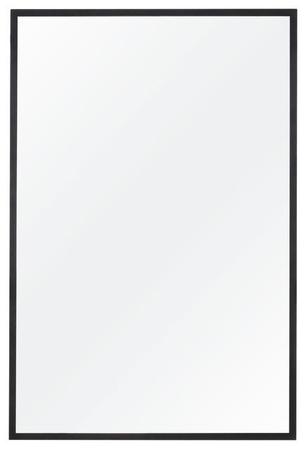 "Alan Rectangle Bathroom Mirror, Matte Black, 24""x36"""