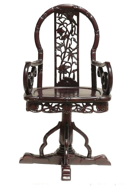 chinese redwood carved swivel armchair asian office