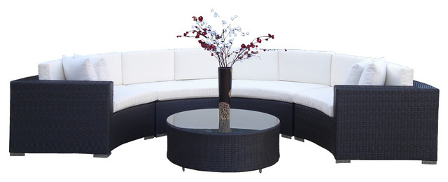 Outdoor Wicker Sofa Sectional Round 5 Piece Resin Couch Set