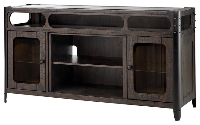 Paige Media Console Electric Log Fireplace, Rustic Brown Finish.