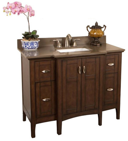 """45"""" Single Sink Vanity, Sable Walnut With Quartz Top, Cream, Taupe Top, 45"""", Qua."""