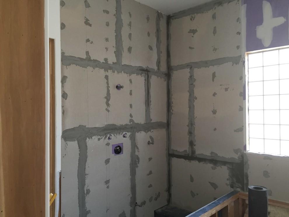 Shower walls prepped for slab marble.