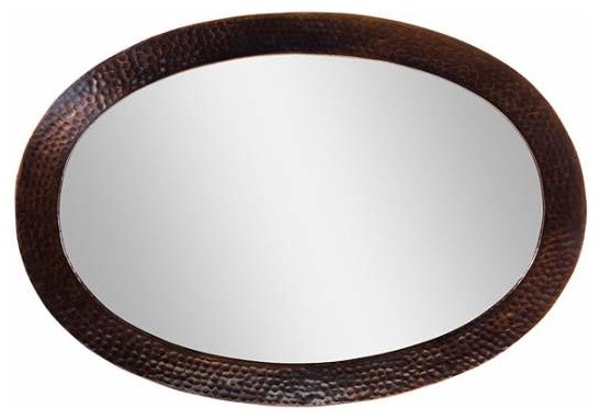 Framed Oval Mirrors For Bathrooms copper factory copper framed oval mirror copper 26 1/2 x 18 1/2