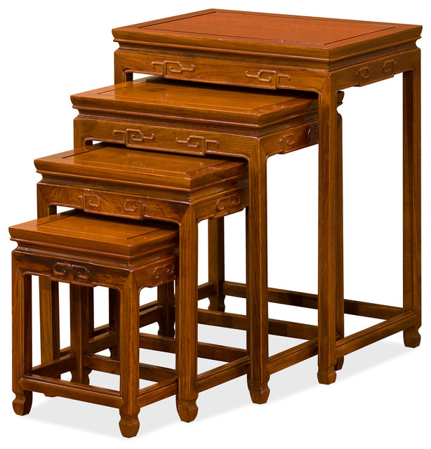 Superbe Rosewood Ming Nesting Tables, Natural