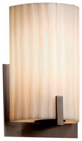 Oval Translucent Porcelain Shade with Waves Design Era 1-Light Wall Sconce Limoges Brushed Nickel Finish
