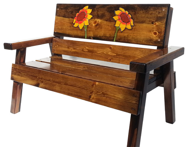 Hy Chairs Bench Engraved Sunflower Design Rustic Outdoor Benches By Chairore