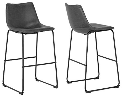 Cool Adan Iron Frame Vintage Gray Faux Leather Bar Stools Set Of 2 Cjindustries Chair Design For Home Cjindustriesco