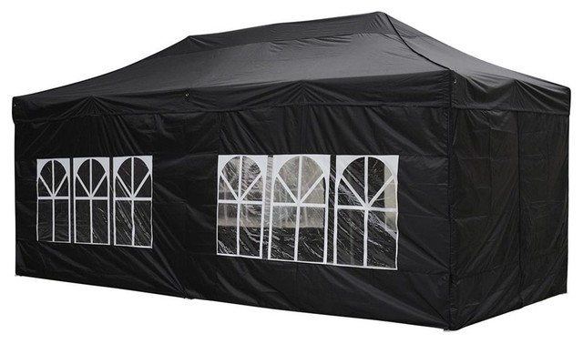10x20u0027 EZ Pop Up Folding Market Wedding Party Tent Outdoor With Sidewall Black contemporary-  sc 1 st  Houzz : 10x20 tent with sidewalls - memphite.com