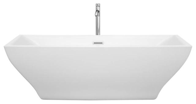"Maryam 71"" White Soaking Bathtub With Floor Mounted Faucet, 71""."