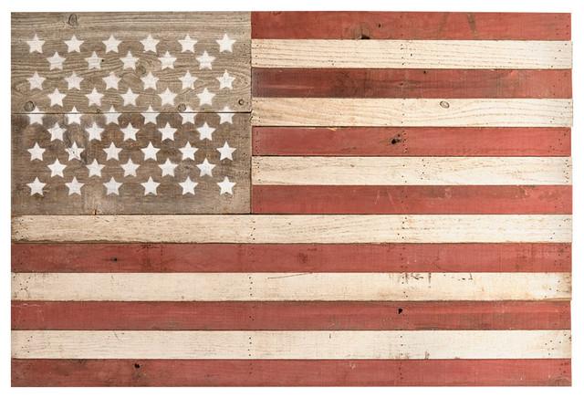 Reclaimed Red & White American Flag