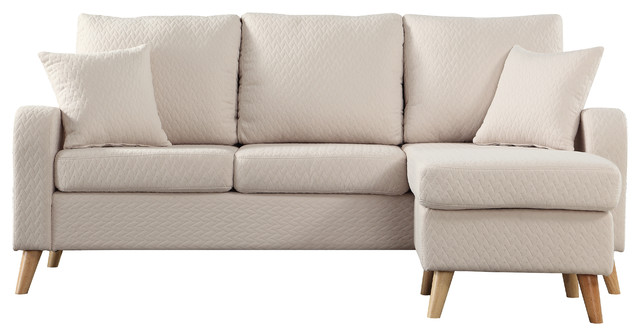 Modern Fabric Small E Sectional Sofa With Reversible Chase Beige