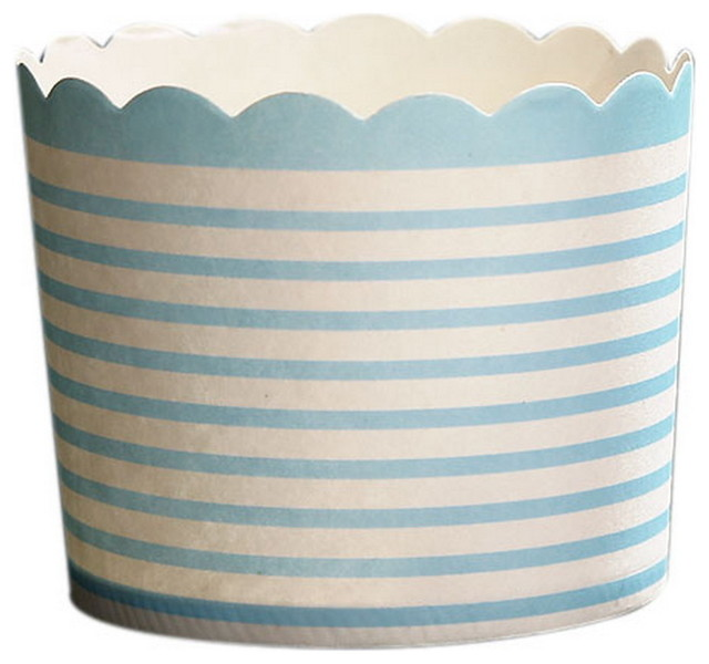 50 Medium Lovely Creative Cake Cups, Light Blue And White Stripes.