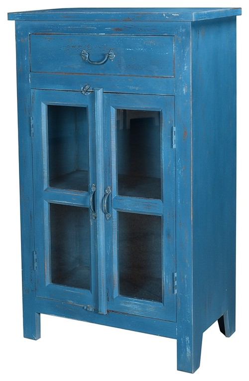 44 Tall Umberto Cabinet Top Drawer Double Doors Antiqued Blue Wood Bench Built