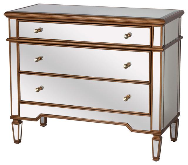 Harlowe Hollywood Regency Gold Wood Mirrored Dresser Transitional Dressers