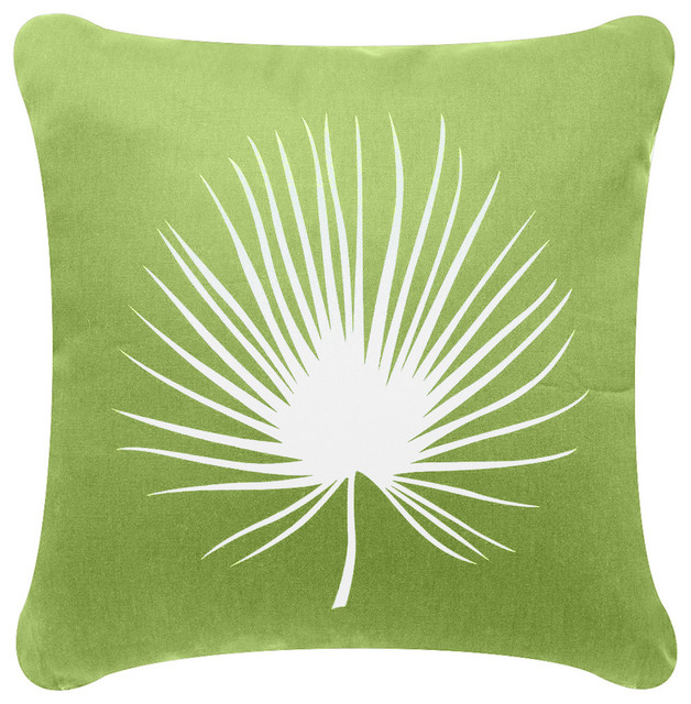 Palm Frond Organic Cotton Throw Pillow Cover Apple Green Amazing Apple Green Decorative Pillows