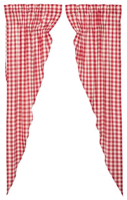 Farmhouse Kitchen Curtains Jenna Buffalo Check Prairie Swag Pair Rod Pocket