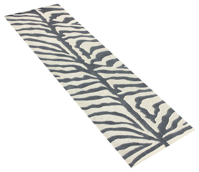 Grey And Ivory Animal Print Rug