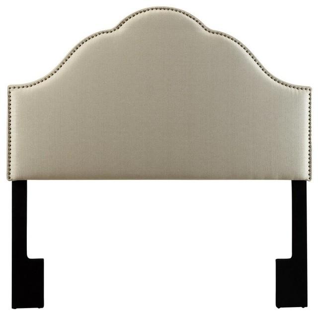 Glam Upholstered Headboard, Tuxedo Oatmeal, King.