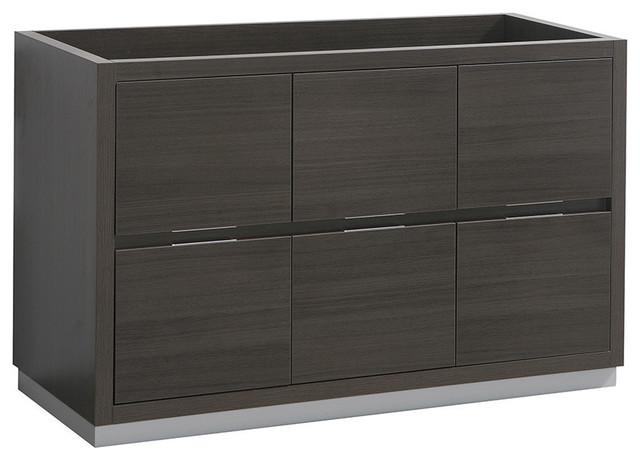 """Fresca Valencia 48"""" Gray Oak Free Standing Double Sink Modern Bathroom Cabinet"""