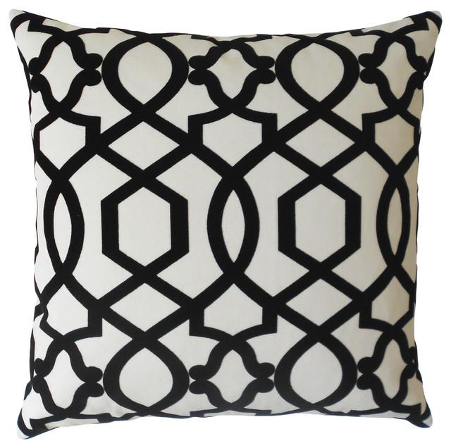 velvet trellis decorative pillow cover black and cream mediterranean decorative pillows - Black Decorative Pillows