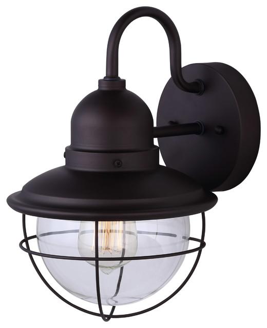 Canarm Treehouse 1 Light Post Light Black with Clear Glass IOL