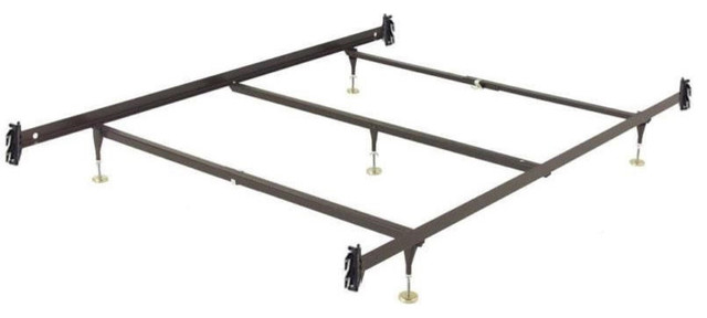 Queen Size Metal Bed Frame With Hook-On Headboard Footboard Brackets.