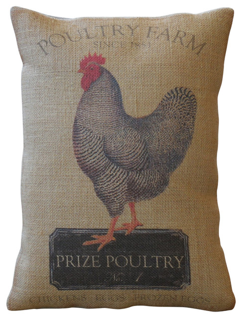 Decorative Pillows With Chickens : Chicken Farm Burlap Pillow, 12
