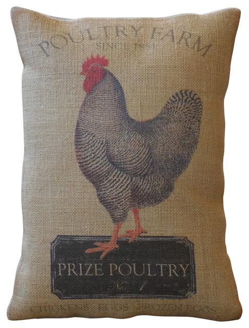 "Chicken Farm Burlap Pillow, 12""x16""."