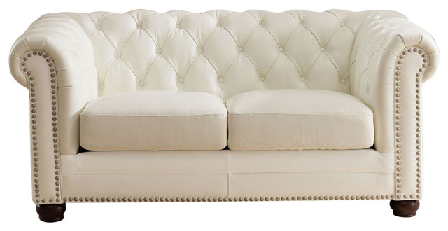 Lucie White Leather Loveseat.