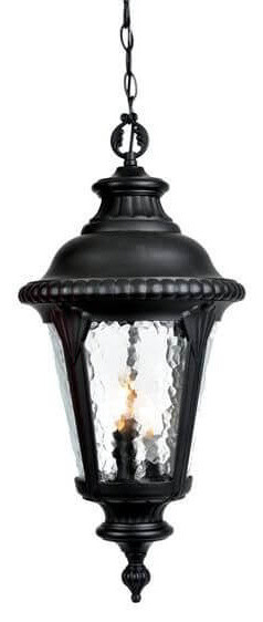 Black Outdoor Hanging Lantern-Light, Clear Hammered Water Glass Panels.