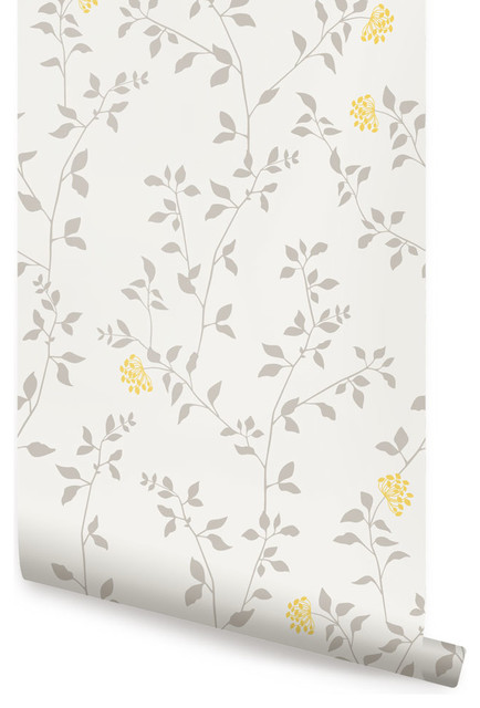 Branch Flower Wallpaper Peel And Stick Transitional Wallpaper By Simple Shapes
