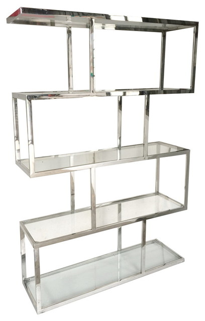 zig zag stainless steel shelf etagere contemporary display and wall shelves by fantastic. Black Bedroom Furniture Sets. Home Design Ideas